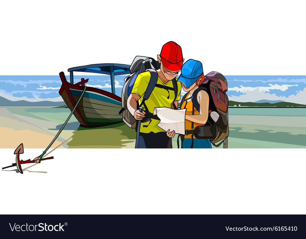 Couple of tourists near the boat on the beach vector