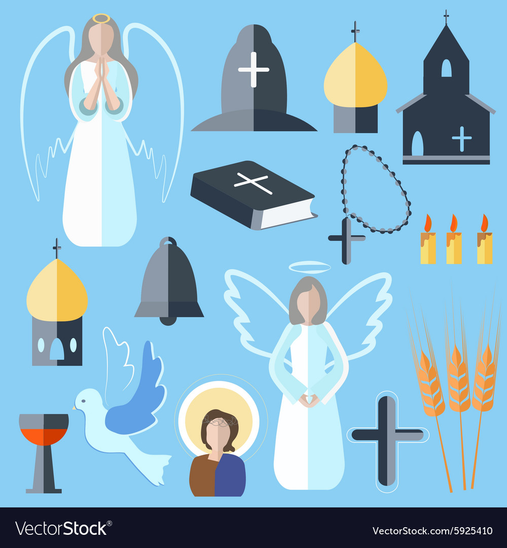 Set theme religion angel bell church dove vector