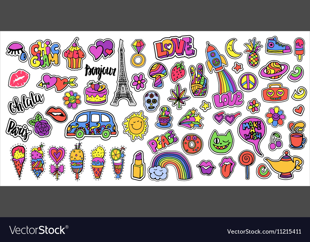 Huge set of patch badges with lips hearts eiffel vector