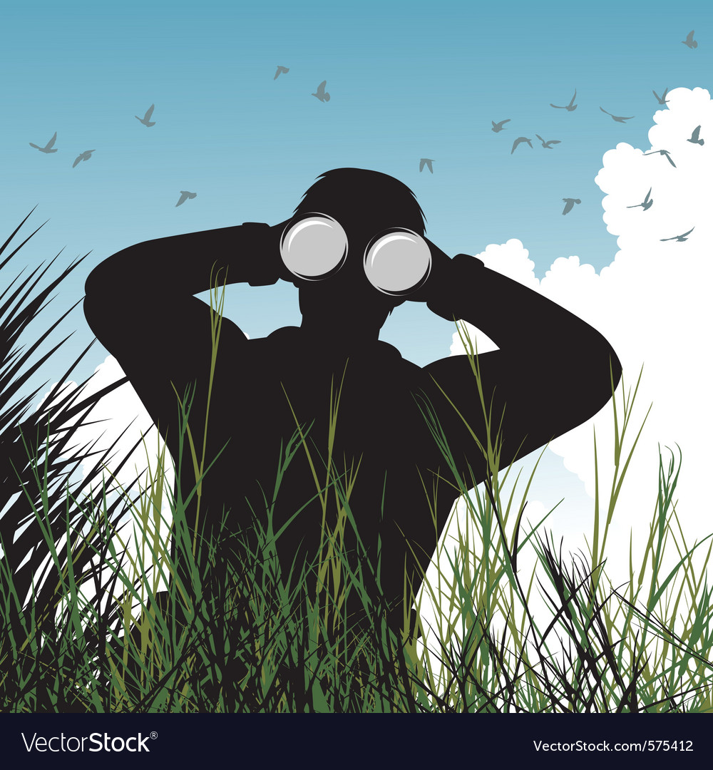 Bird watcher vector