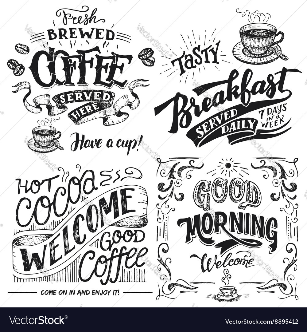Coffee and cocoa for breakfast hand lettering set vector