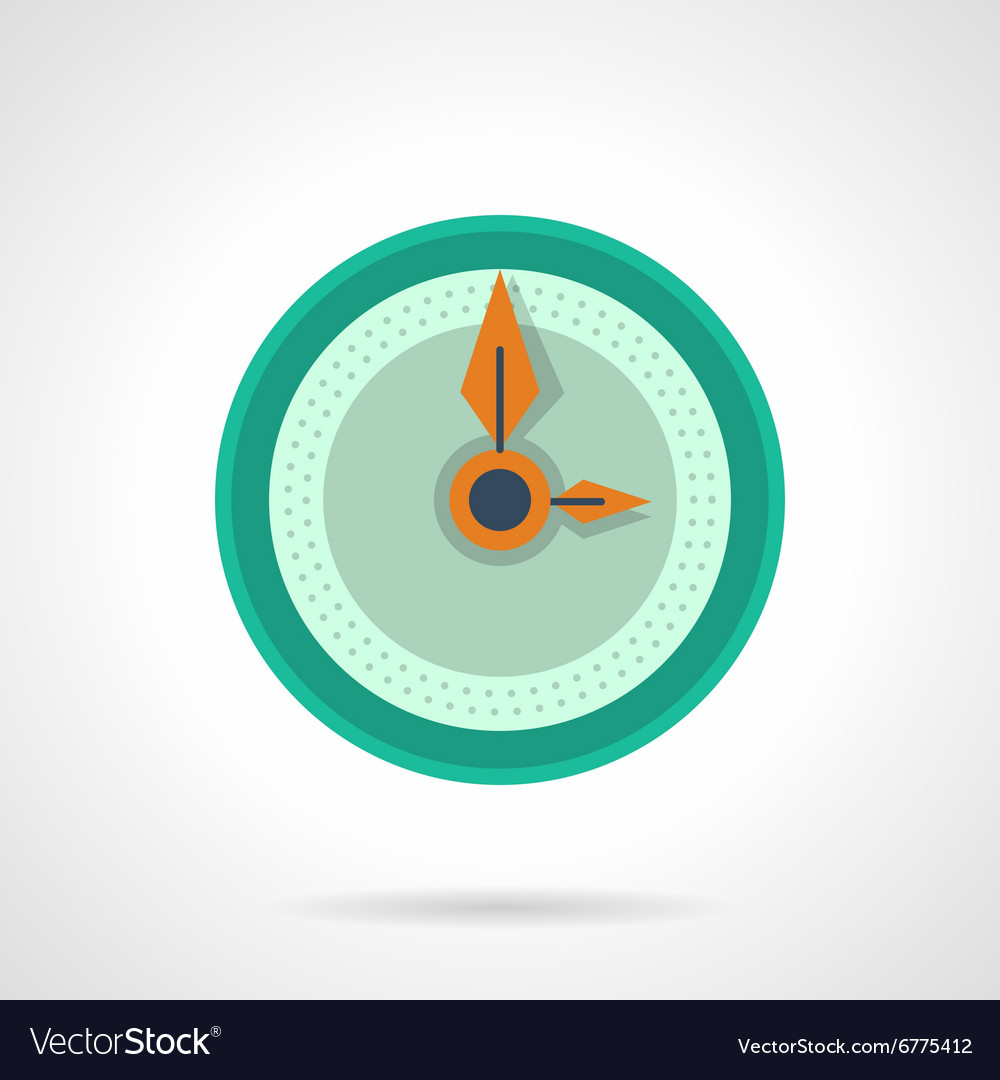 Flat color clock dial icon vector