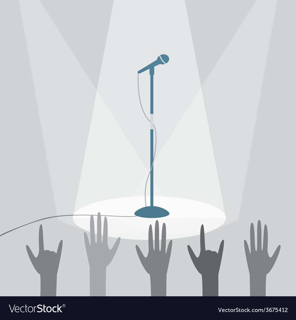 Microphone on the stage under the spotlights vector
