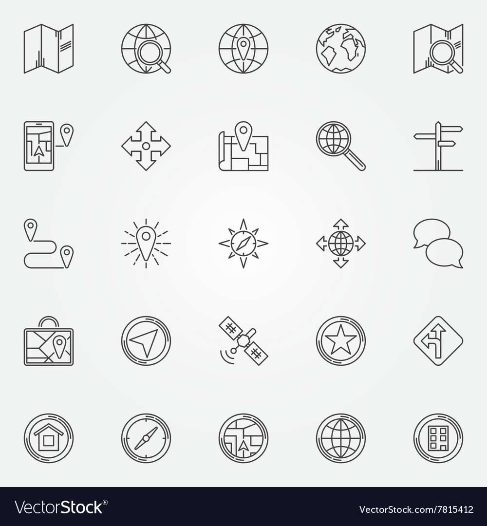 Navigation icons set vector