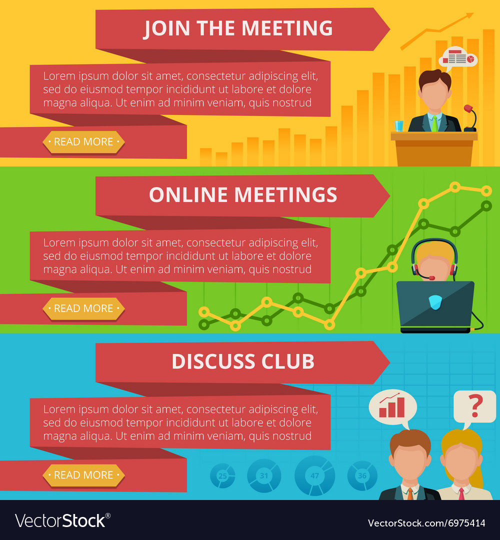 Meeting banner set vector