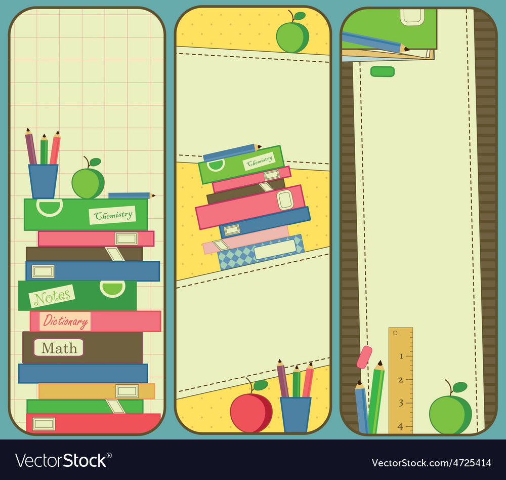 Vertical school and book banners or bookmarks vector