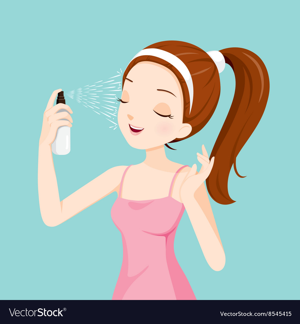 Girl spraying mineral water on her face vector