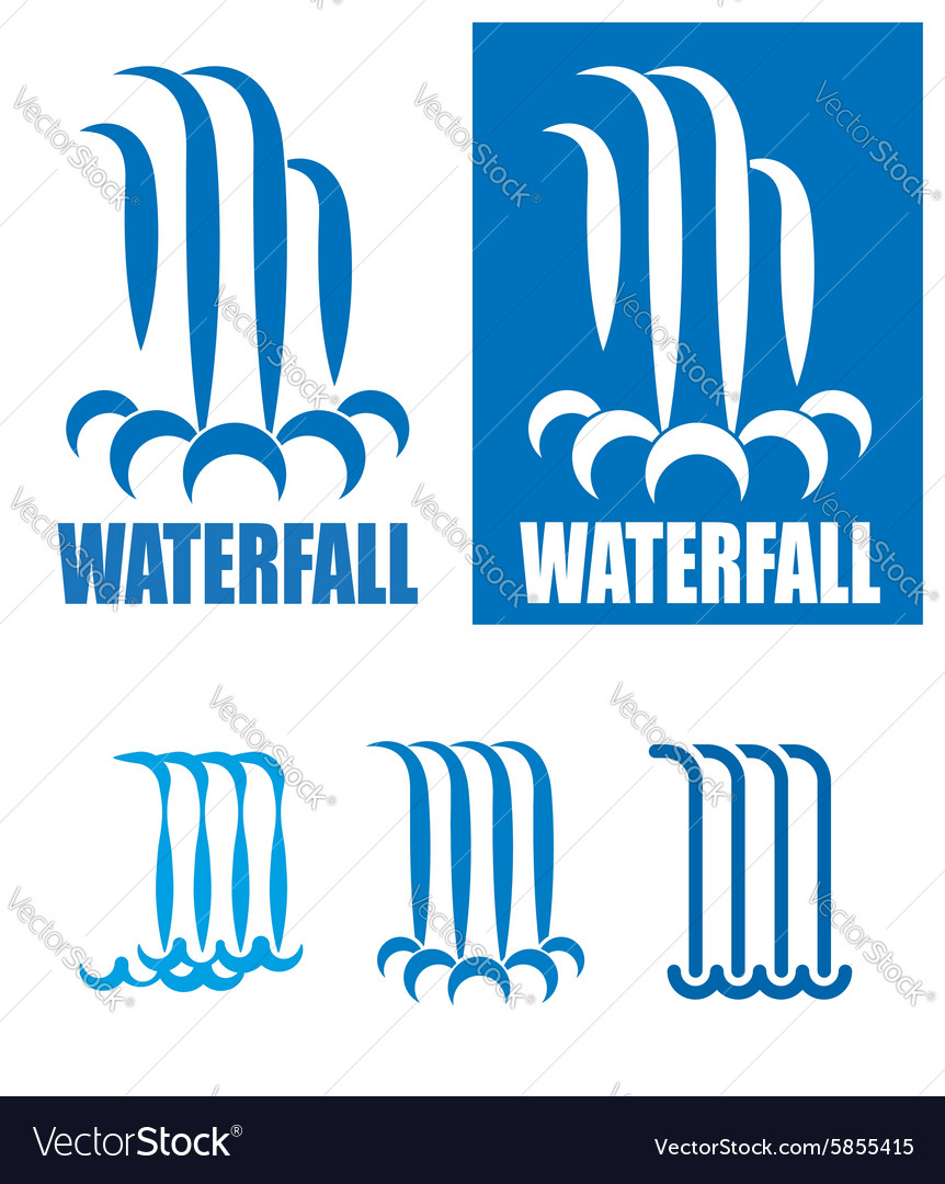 Waterfalls logo set vector