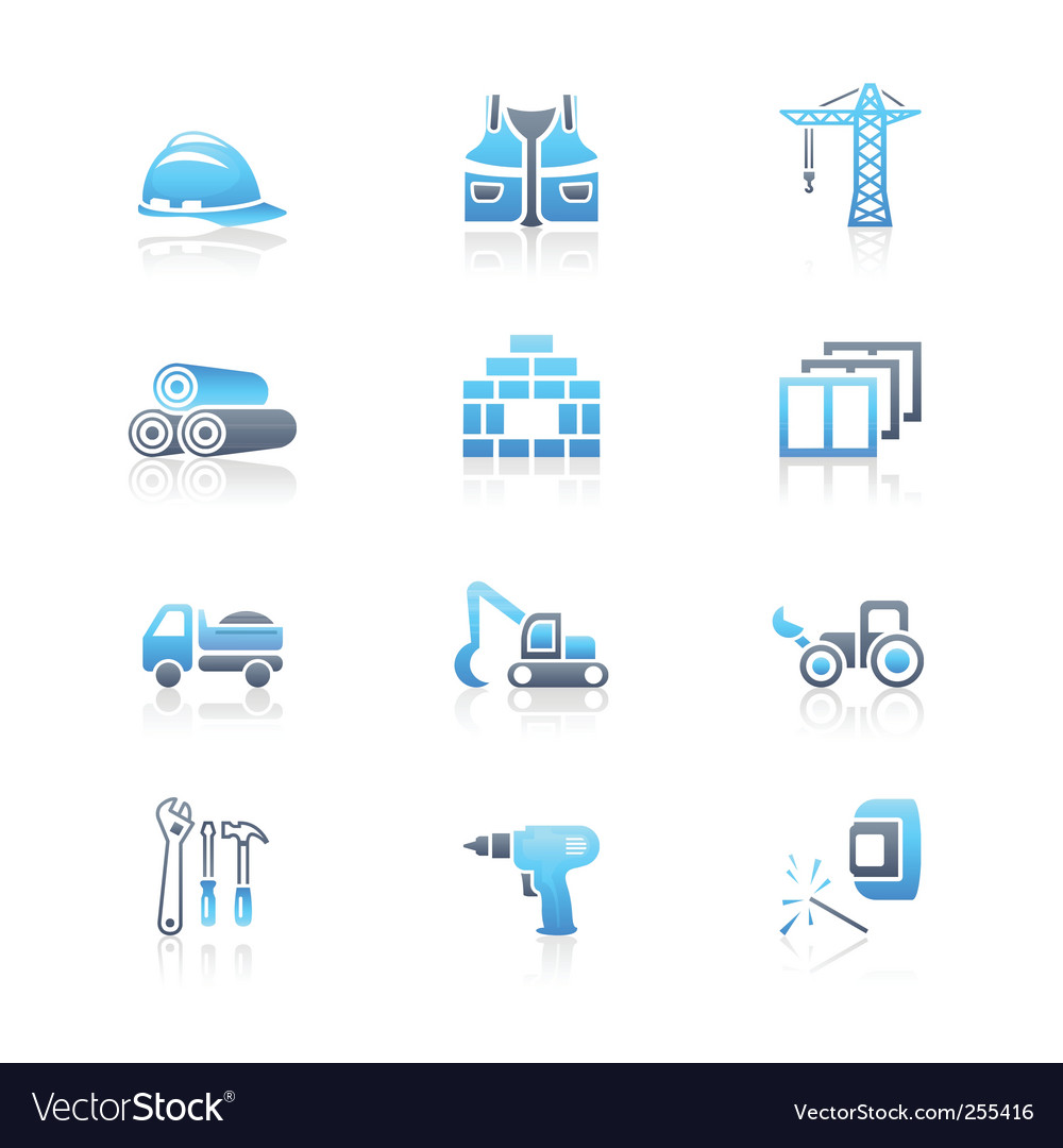 Construction icons marine series vector