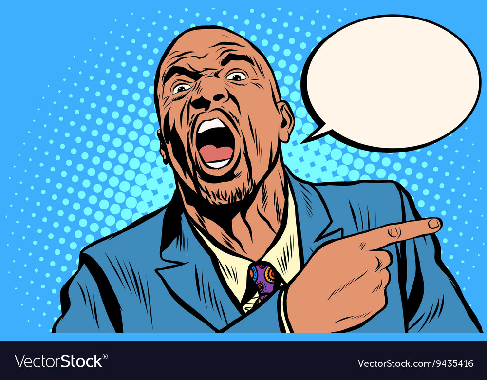 Emotional strong black man pointing finger vector