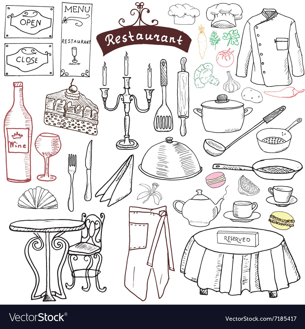 Restaurant sketch doodles set hand drawn elements vector