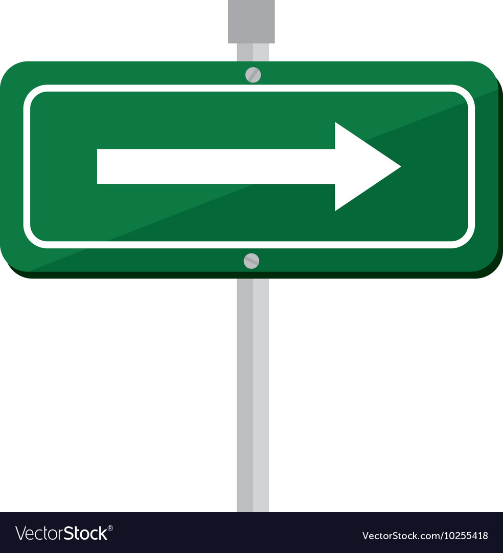 Arrow road sign green icon vector