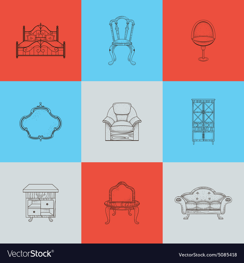 Set of nine furniture for home vector