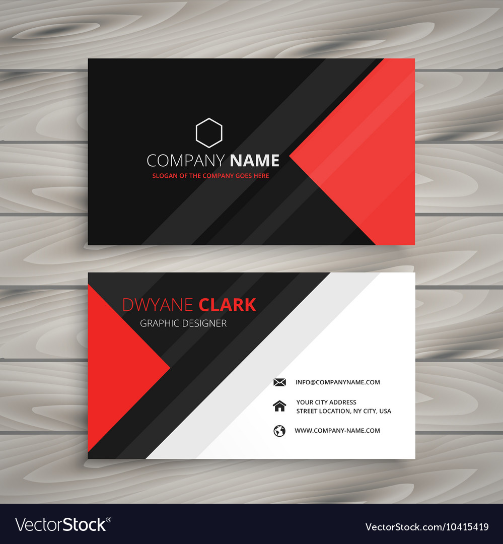 Red black corporate business card vector