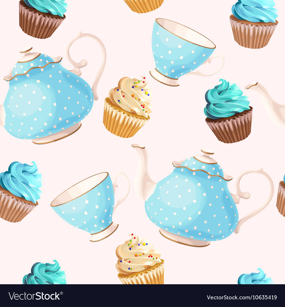 Seamless teacups and cupcakes vector