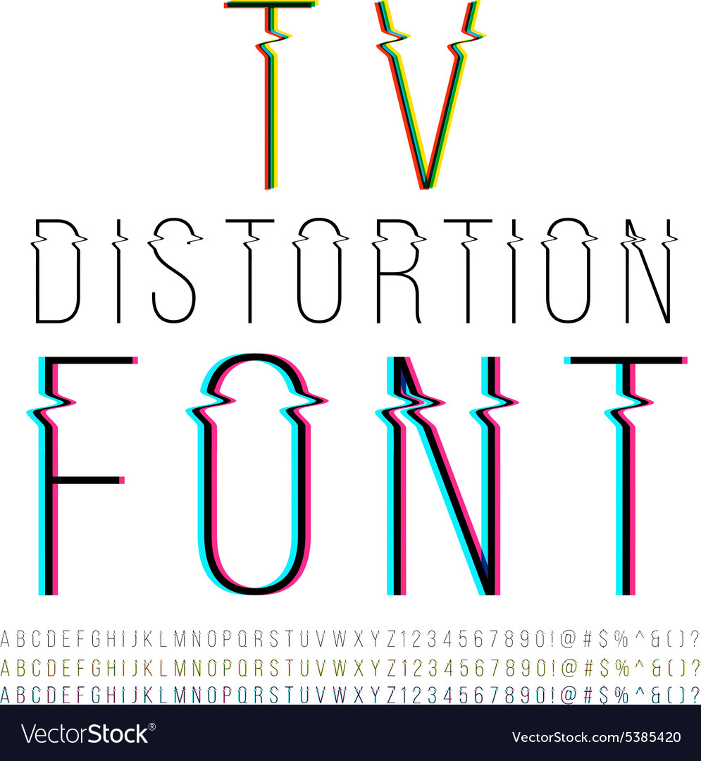 Distortion font vector