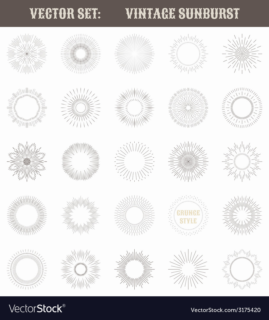 Set of vintage sunburst geometric shapes and light vector