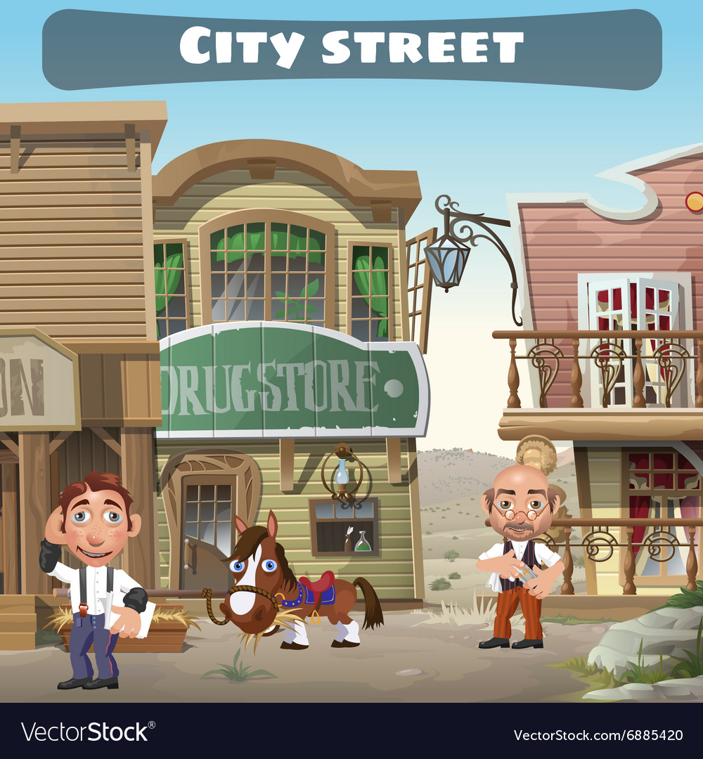 Usual city street in the wild west two residents vector
