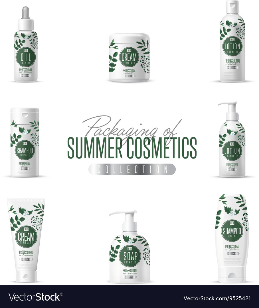 Cosmetic brand template realistic packaging vector