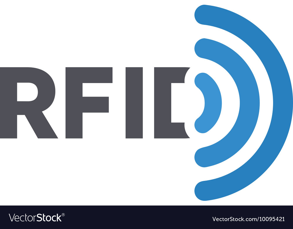 Rfid tag logo radiofrequency vector