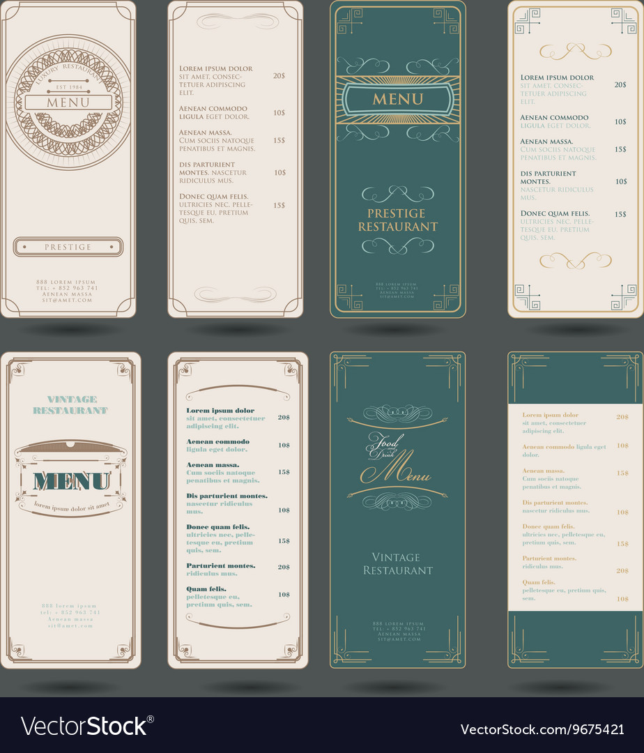 Set of vintage restaurant menu design template vector
