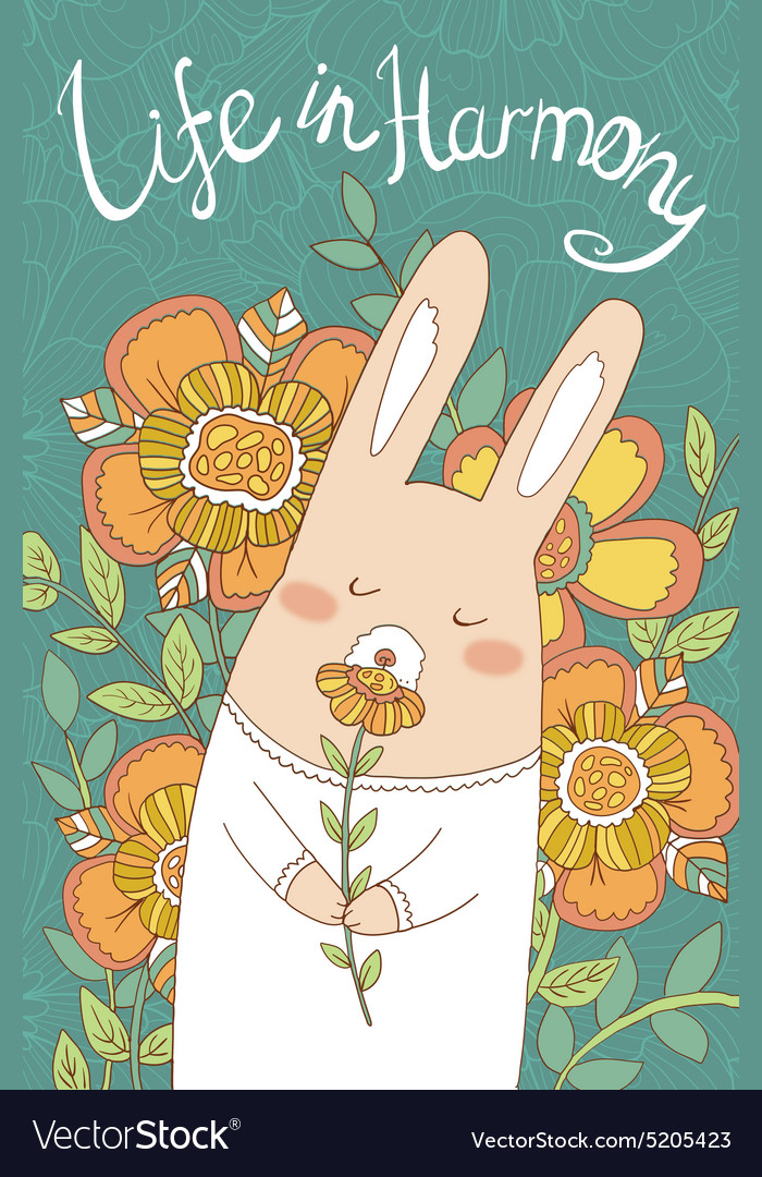 Bunny card with cute hand drawn flowers vector