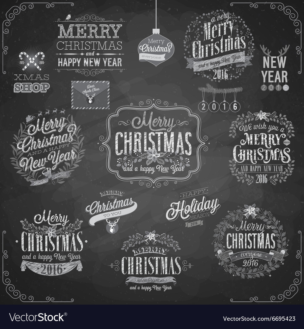 Set of christmas emblems  chalkboard vector