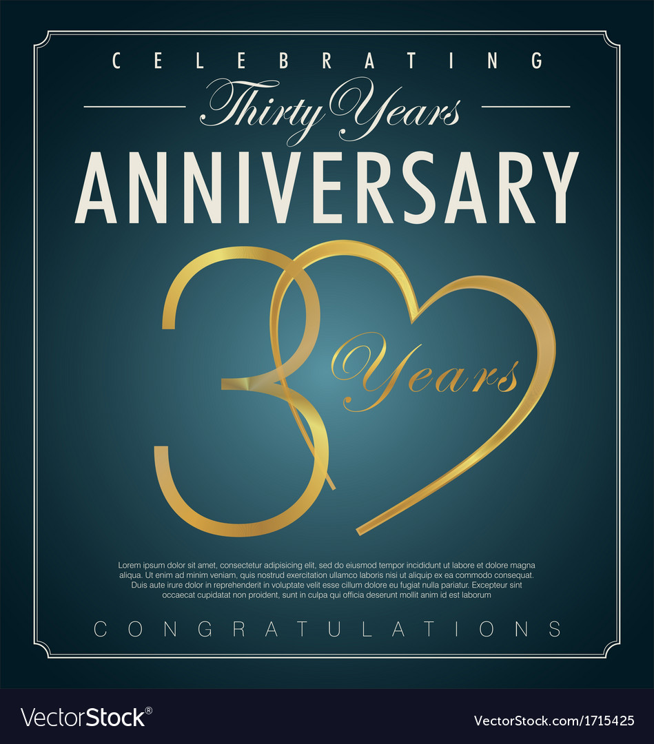 30 years anniversary background vector