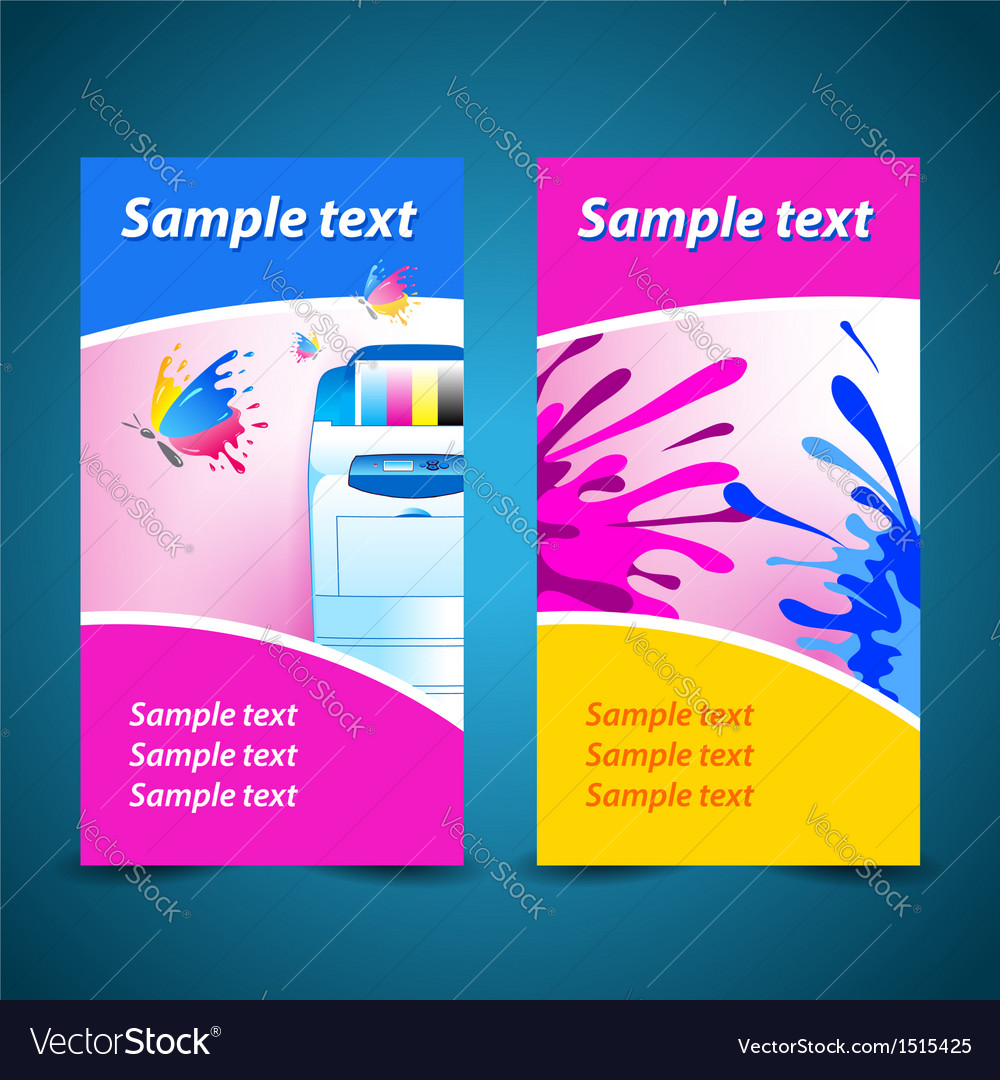 Banner print printer background abstract blue text vector