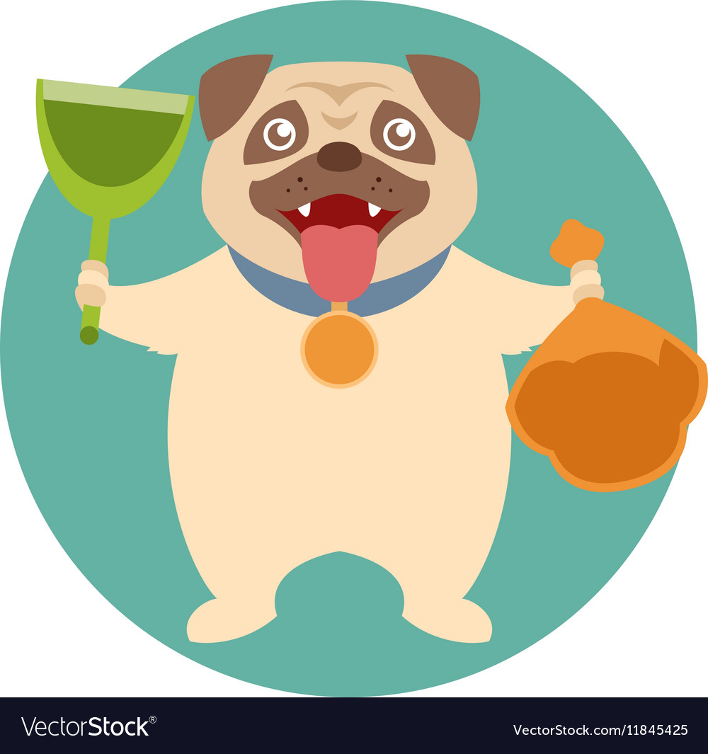 Dog and its toilet equipment vector
