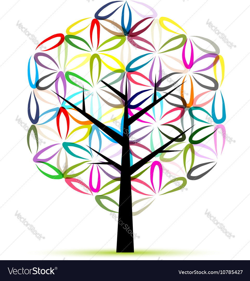 Flower of life art tree sketch for your design vector