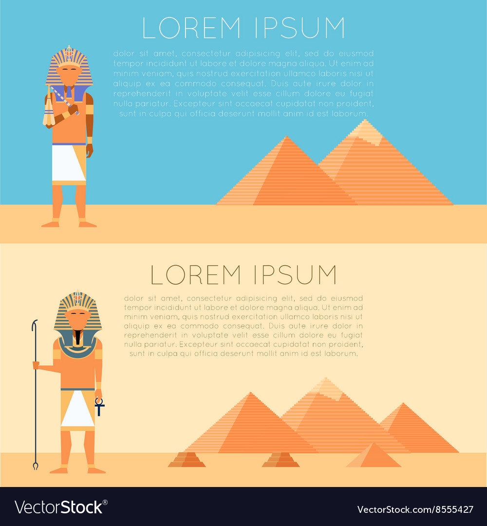 Set of pharaon banners vector