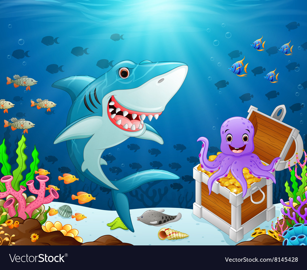Shark under the sea vector