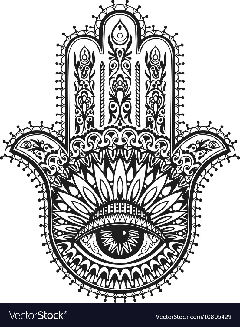 Hand drawn indian hamsa with ethnic ornaments vector