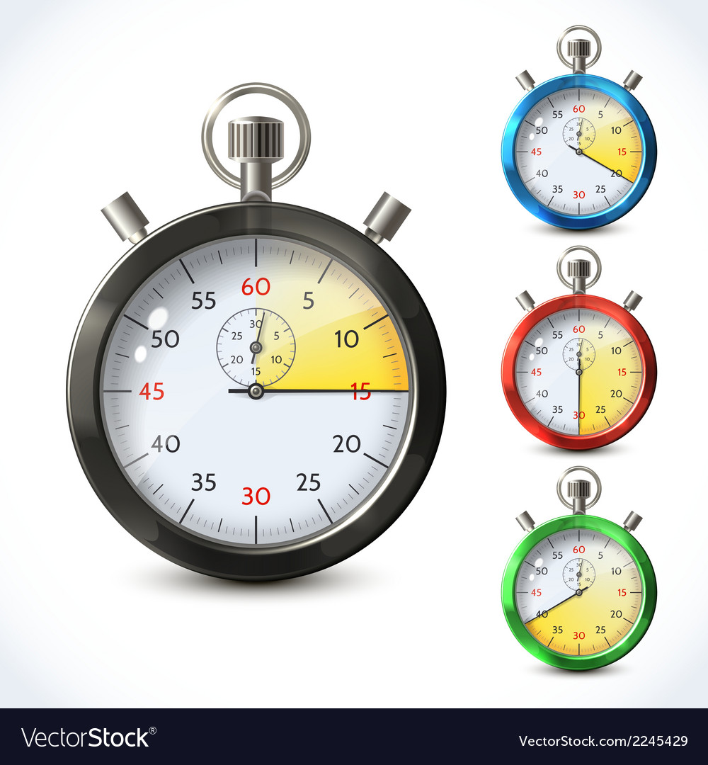 Realistic metallic stopwatch vector