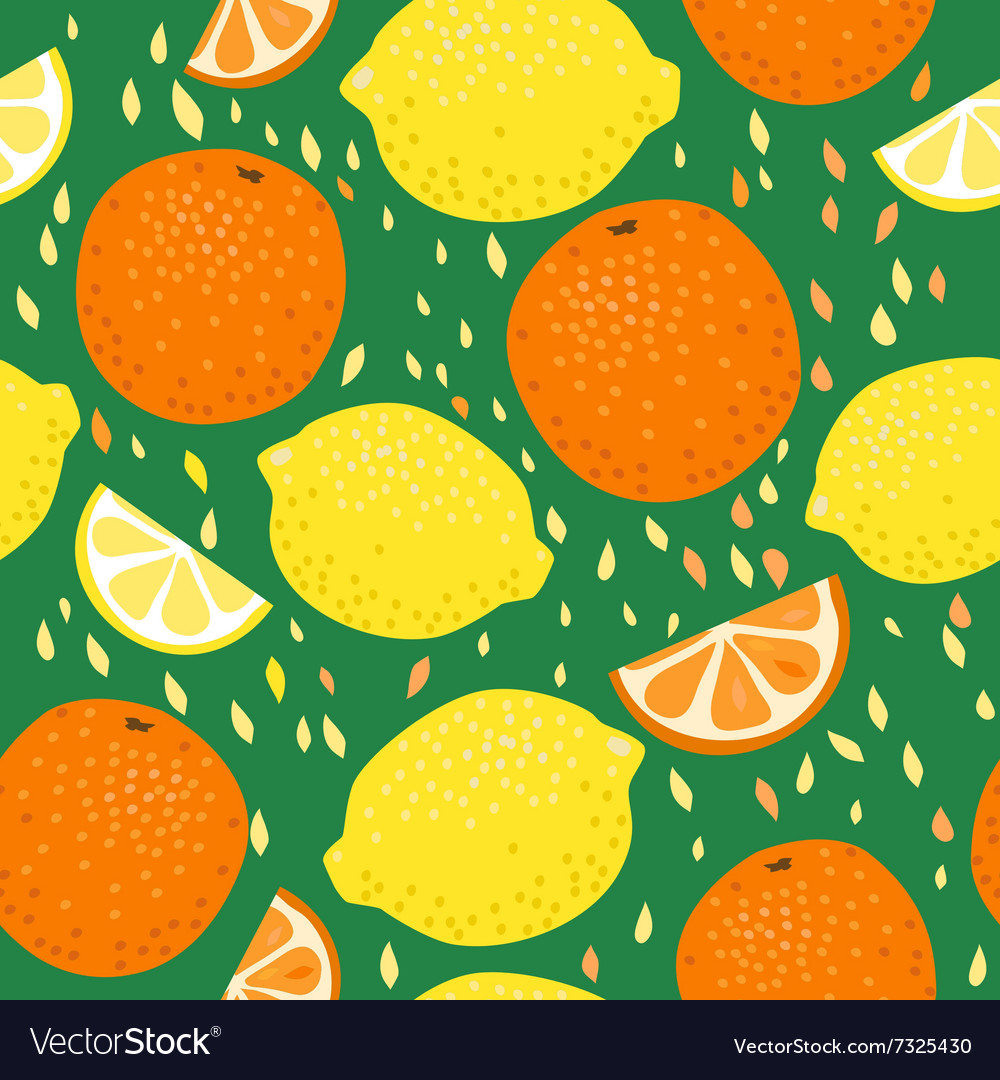 Lemons and oranges seamless pattern vector