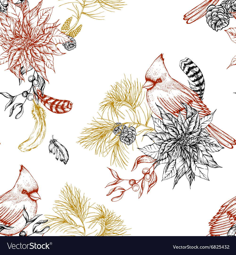 Christmas vintage floral seamless background vector