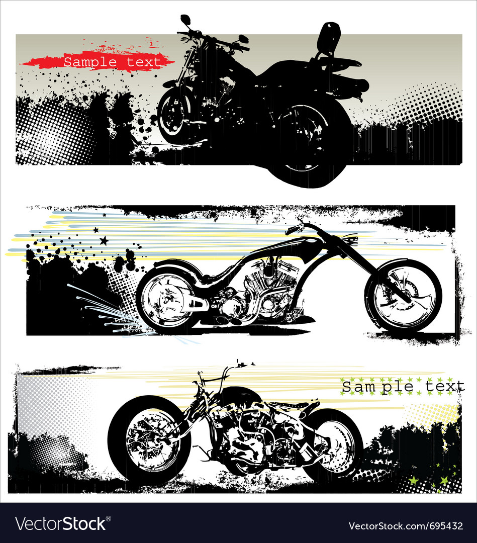 Grunge motorcycle banners vector