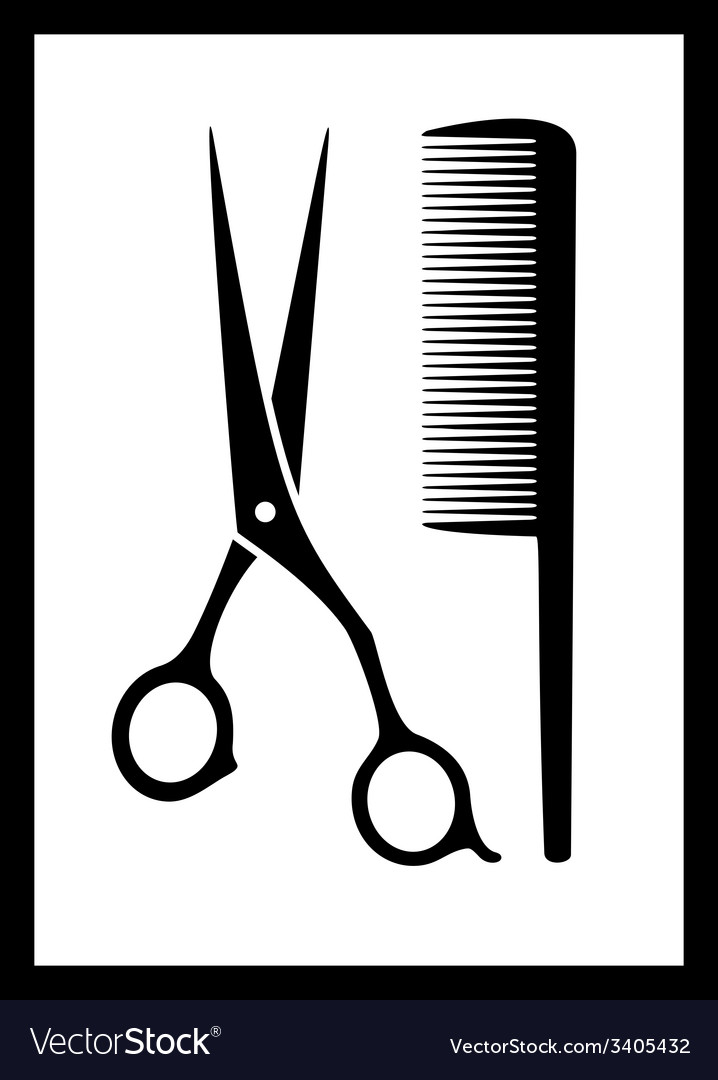Scissors and comb on black frame vector