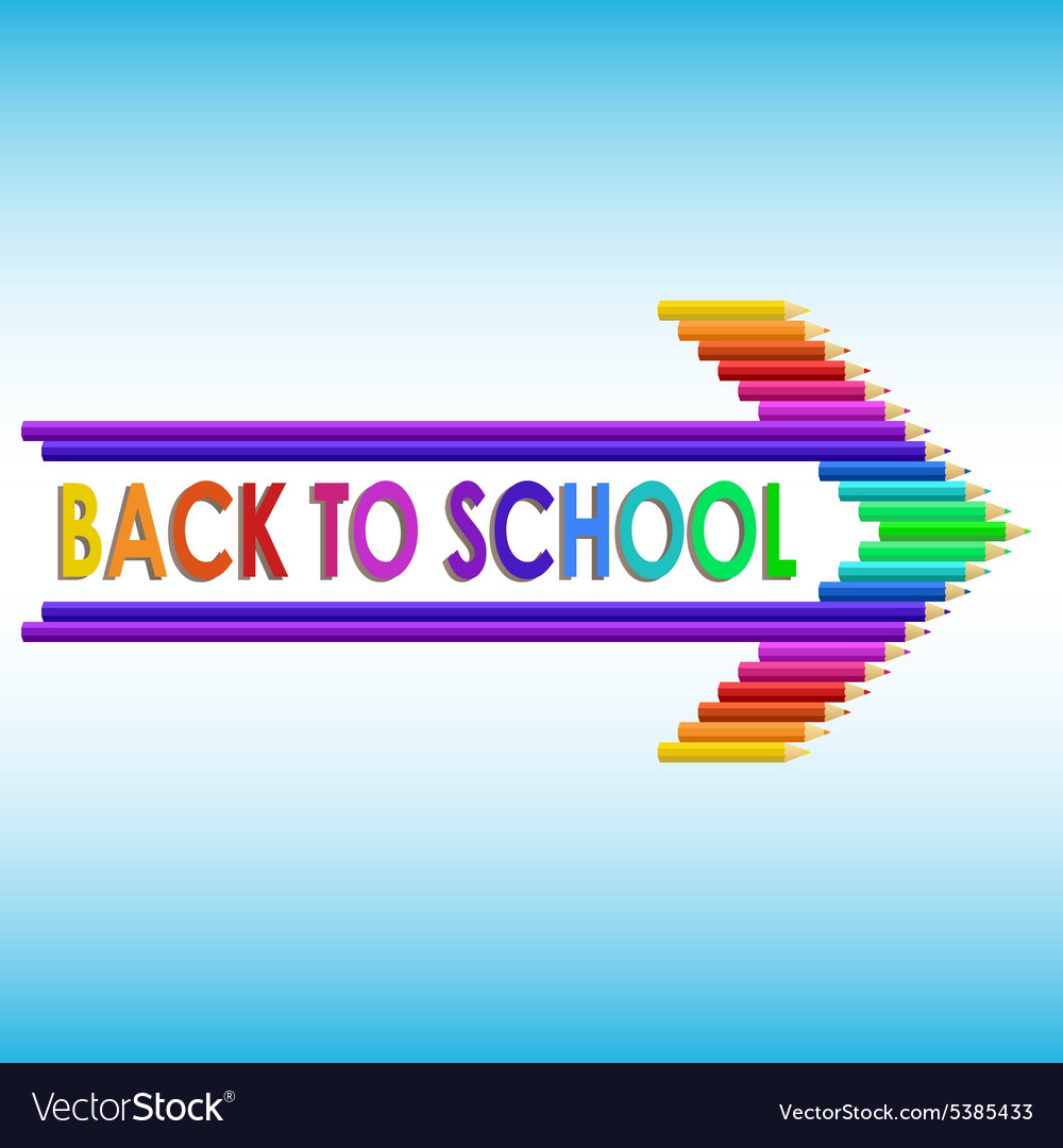Back to school text with colored pencils vector