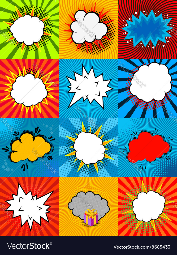 Set of comic style speech bubbles with colorful vector