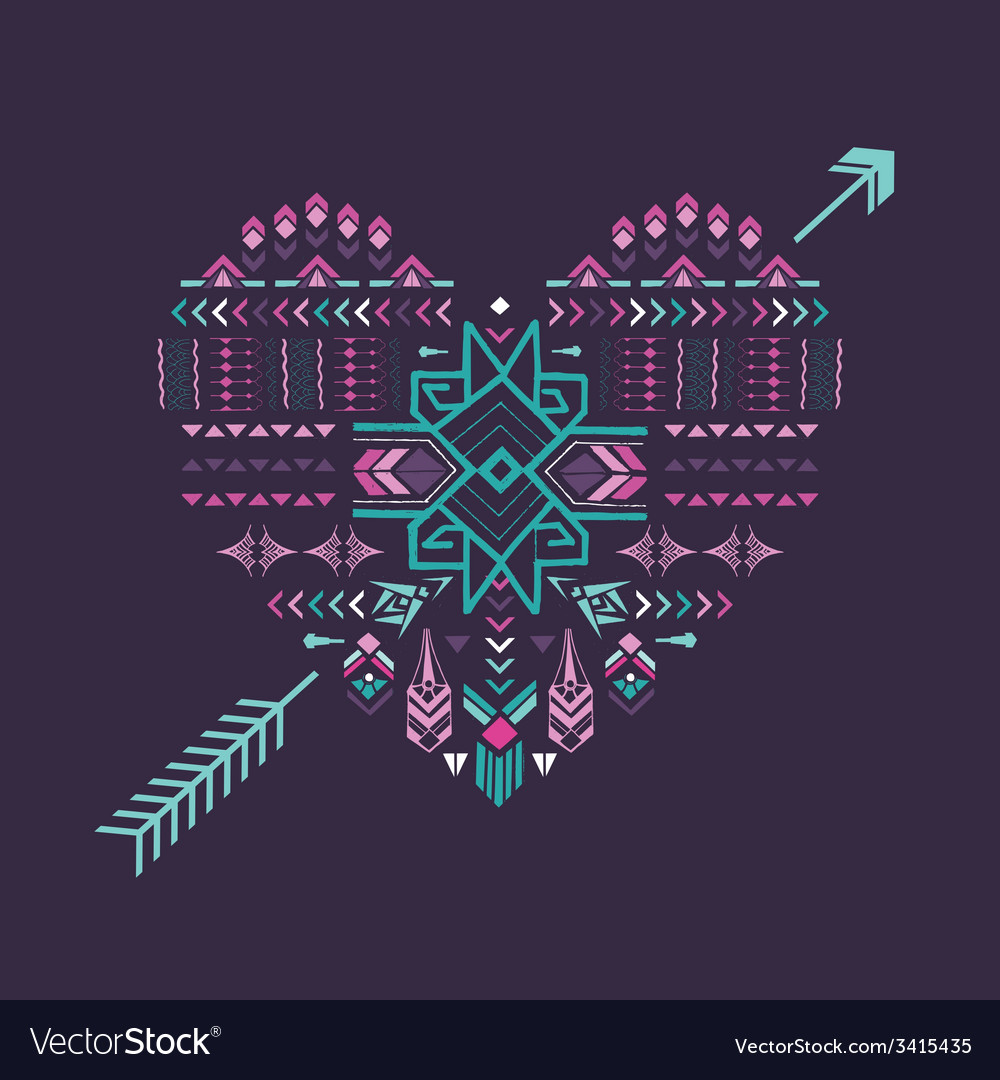 Tribal heart  vintage aztec background vector