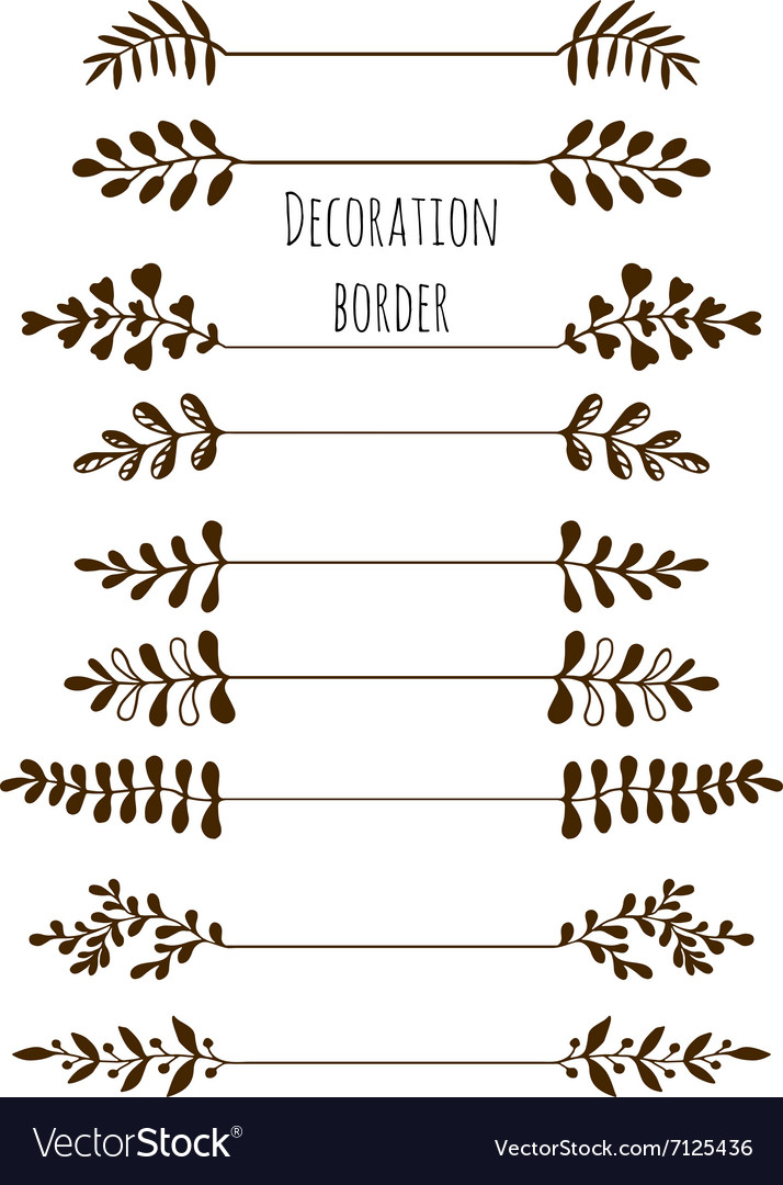 Decorative borders hand drawn vintage border set vector
