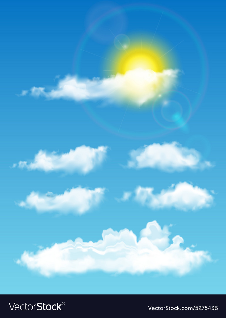 Transparent realistic clouds fulltime sky with vector
