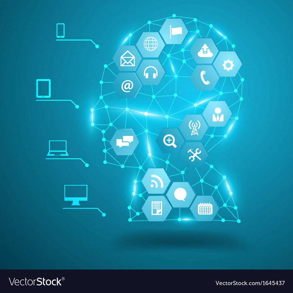 Human head with social network icons vector