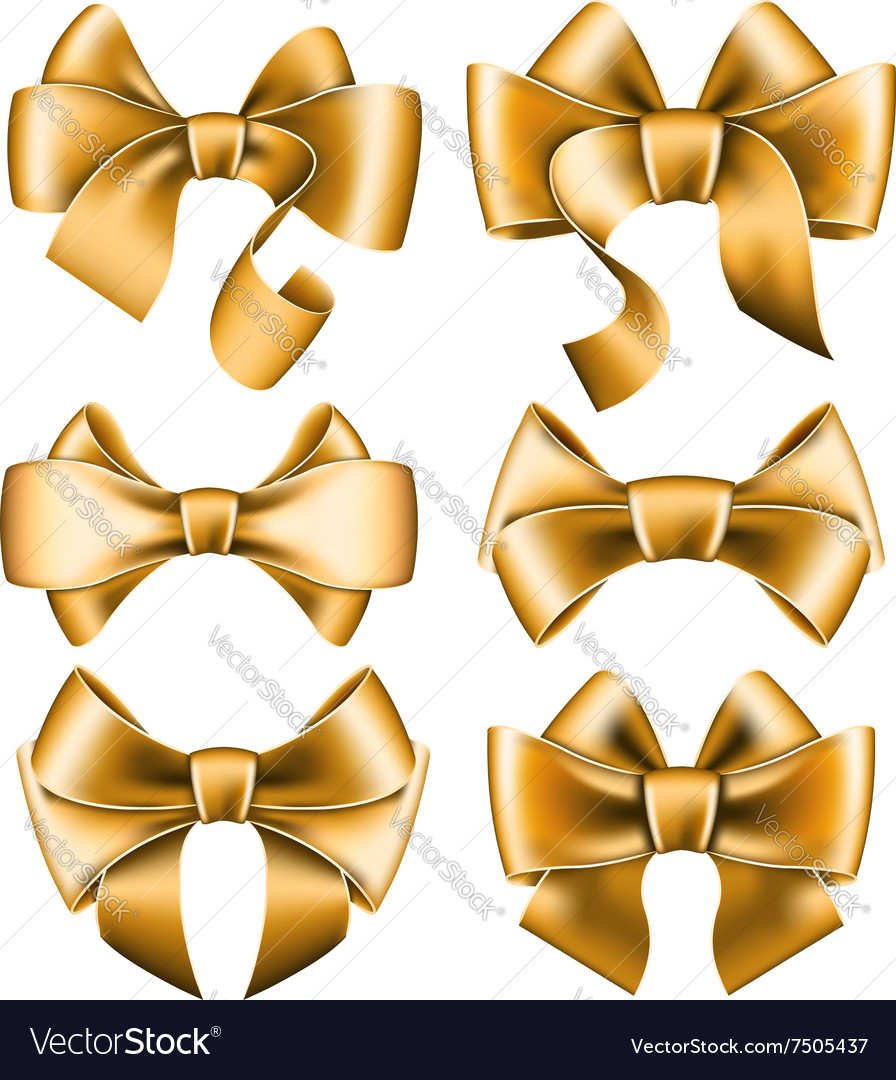 Six gold bows vector