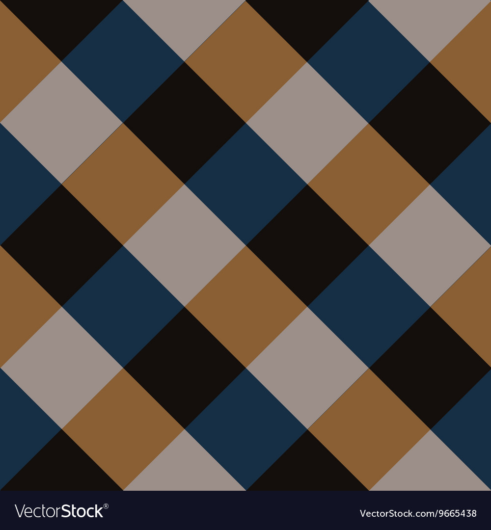 Blue brown chess board diamond background vector
