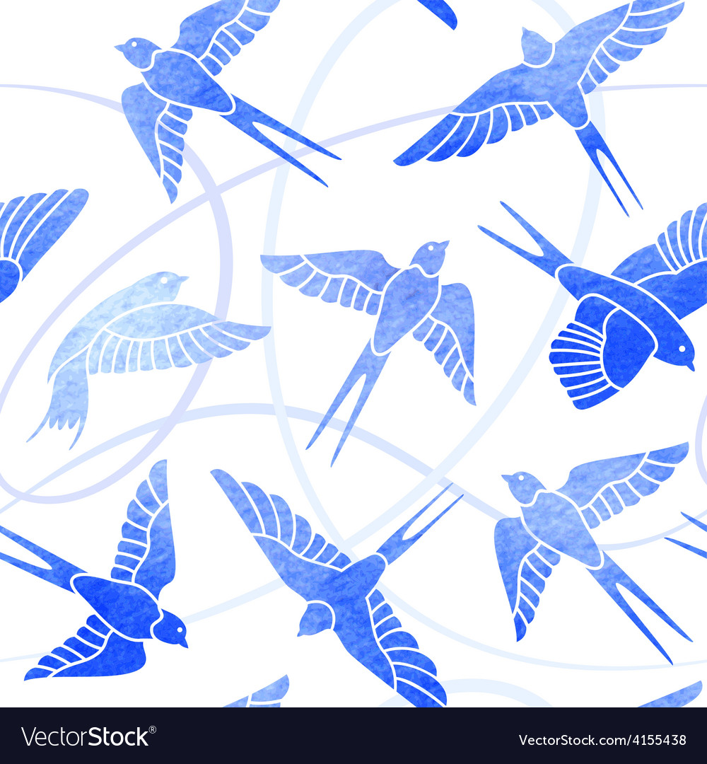 Flight of swallows  watercolor pattern vector