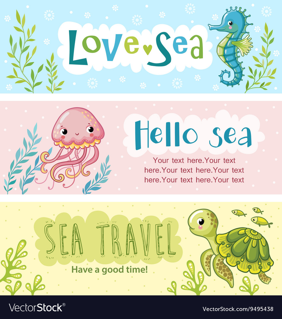 Set of banners on the marine theme vector