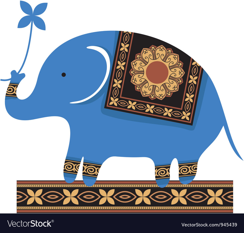 Cute blue elephant vector